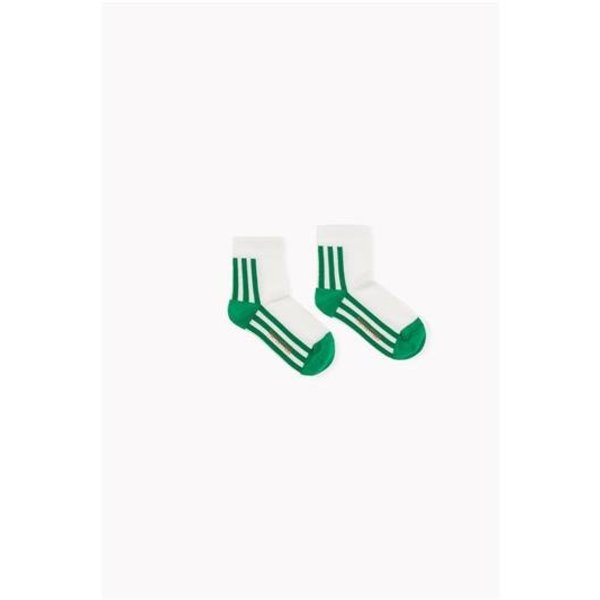 Stripes Quarter Socks off white/green