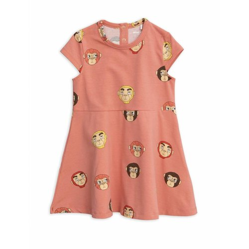 Mini Rodini Monkeys AOP SS Dress Pink - Jurk