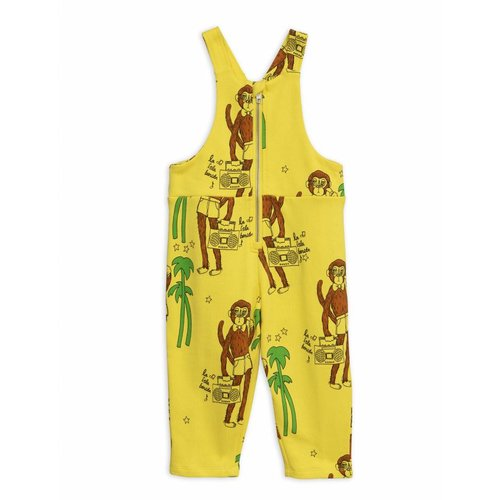 Mini Rodini Cool Monkeys AOP Dungarees Yellow