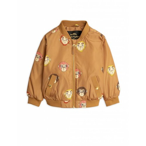 Mini Rodini Monkey AOP Baseball Jacket Brown