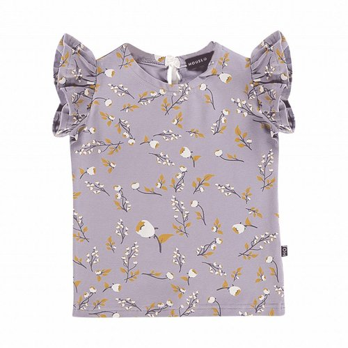 House of Jamie Ruffled Tee Floral Dusty Lilac