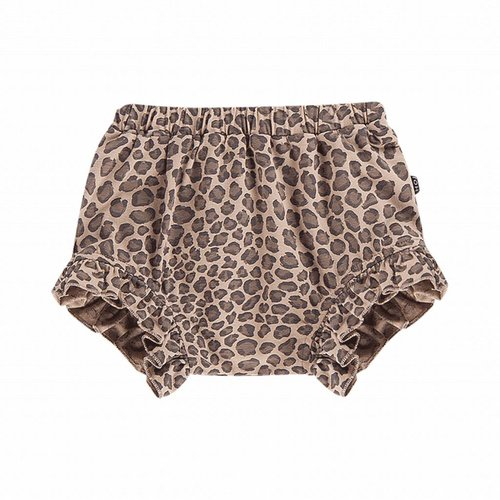 House of Jamie Ruffled Short Caramel Leopard