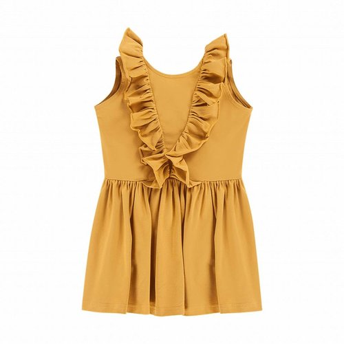 House of Jamie Sleeveless Ruffled Dress Honey Mustard