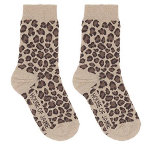 House of Jamie Socks Caramel Leopard- sokken