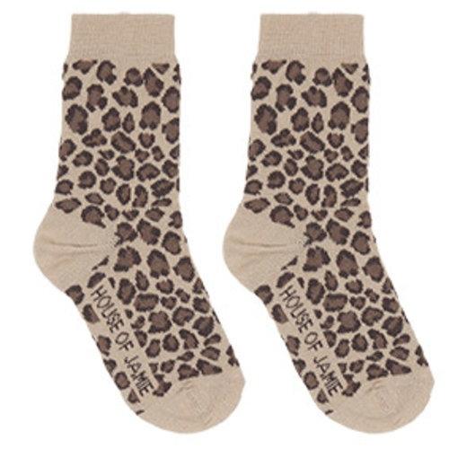 House of Jamie Socks Caramel Leopard