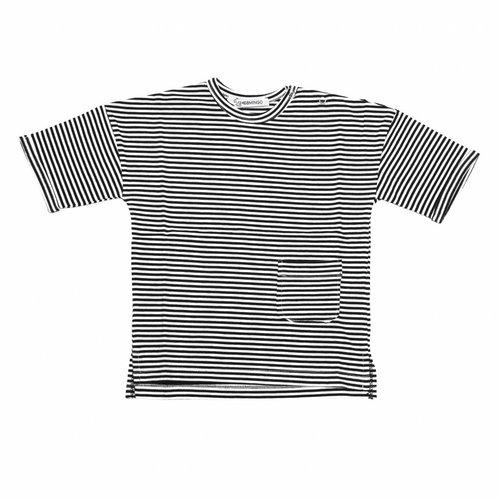 MINGO T-shirt B/W Stripes zwart wit