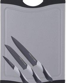 Snijbord met 3 messen (grijs)