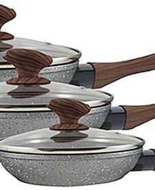 Koekenpanset met glazen deksels