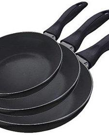 Keramische koekenpannen zwart, set van 3