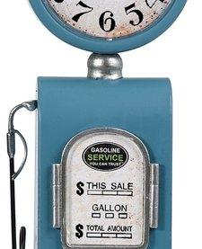 Retro tafelklok Benzinepomp - 35cm - blauw