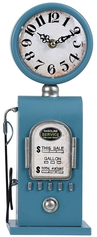 Ceruzo Retro tafelklok Benzinepomp - 35cm - blauw