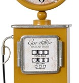 Ceruzo Retro tafelklok Benzinepomp - 35cm - geel