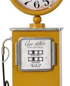 Retro tafelklok Benzinepomp - 35cm - geel