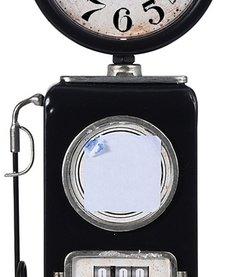 Retro tafelklok Benzinepomp - 35cm - zwart