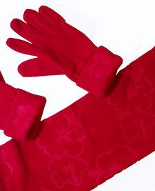 Fleece sjaal met handschoenen (rood)
