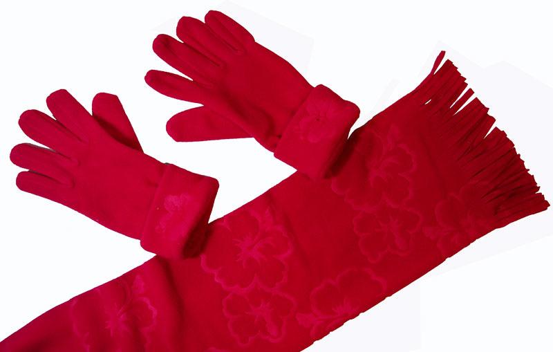 Cadriano Fleece sjaal met handschoenen (rood)