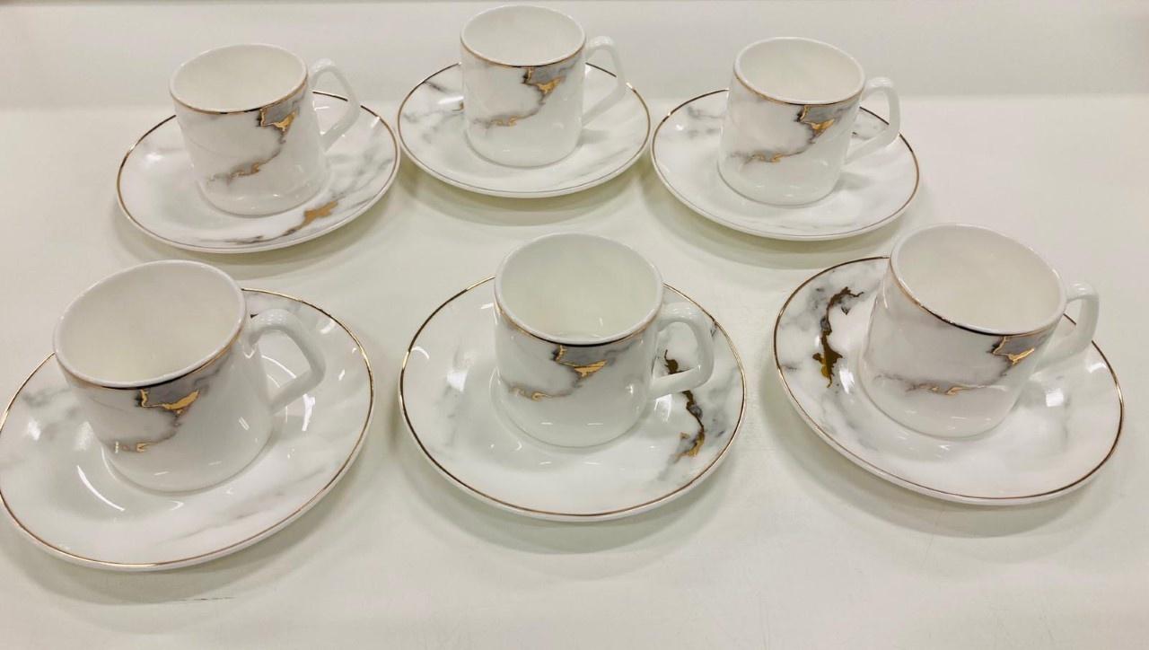 Bricard porcelain 12 delige mokkaset marmer dessin
