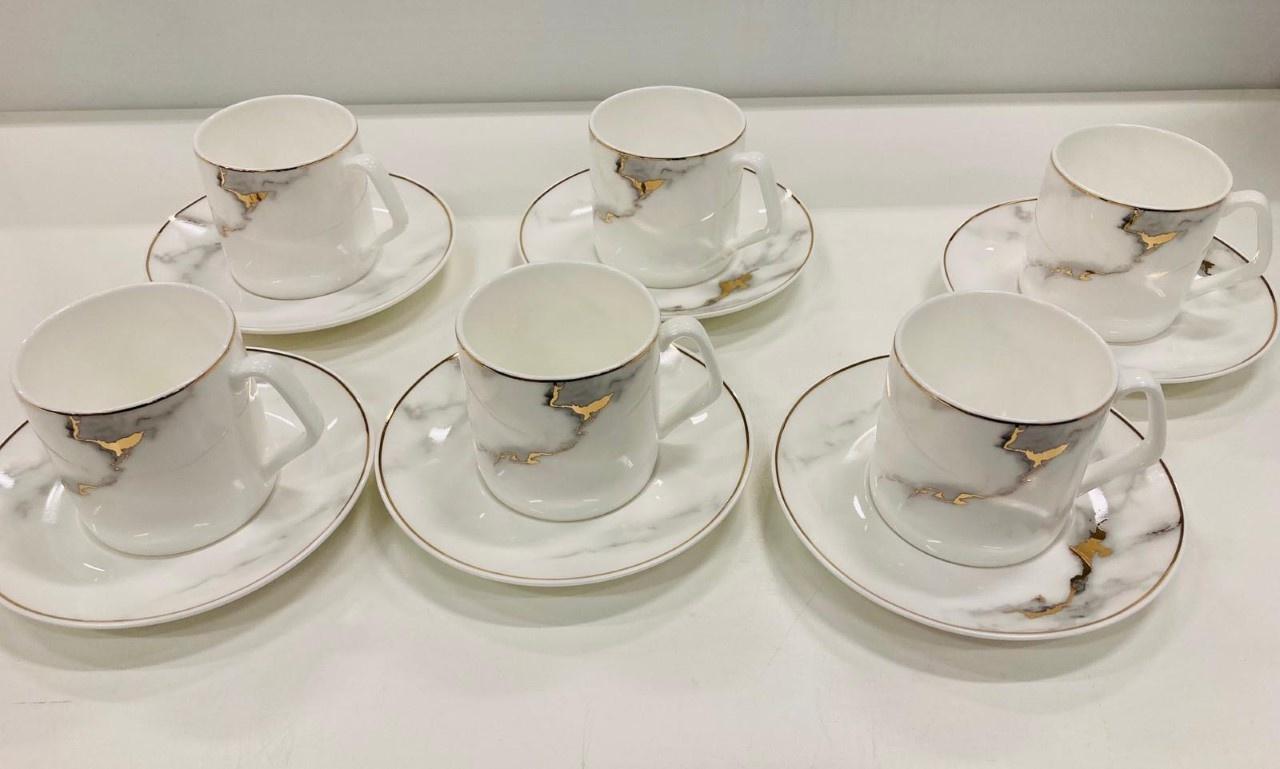 Bricard porcelain 12 delige koffieset marmer