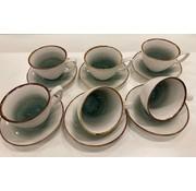 Bricard porcelain Koffieset 12 delig AMIENS blauw +/- 21 cc