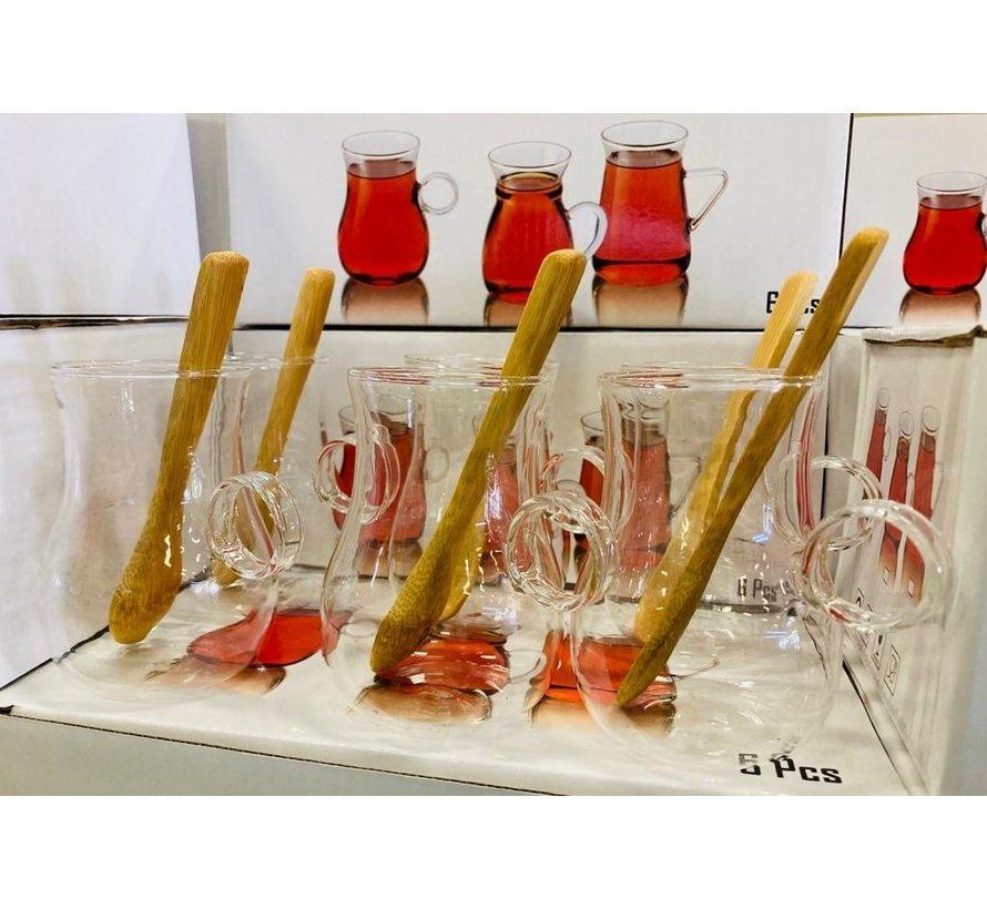 12 delige glazen theeset