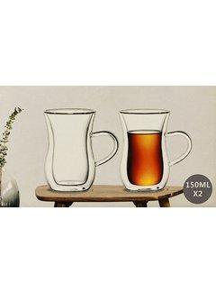 Bricard Glassware Çift camlı çay bardağı (kulplu)