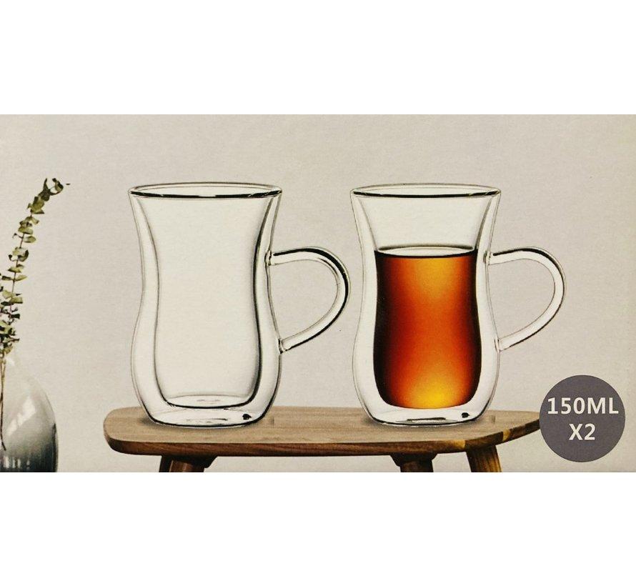Çift camlı çay bardağı (kulplu)