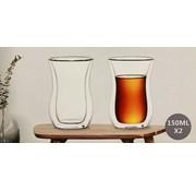 Bricard Glassware Çift camlı çay bardağı (kulpsuz)