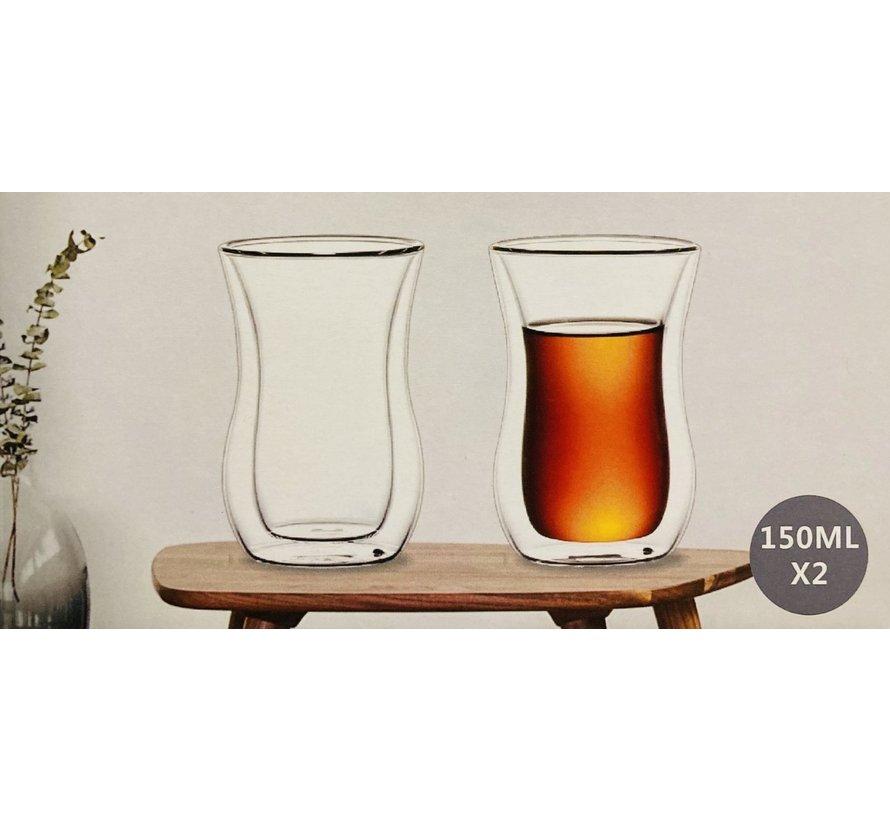 Çift camlı çay bardağı (kulpsuz)