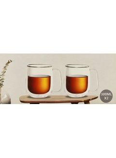 Bricard Glassware Kulplu çift camlı bardak