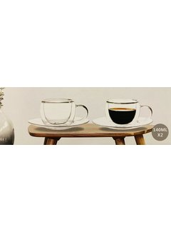 Bricard Glassware Çift camlı  kahve/çay fincan seti