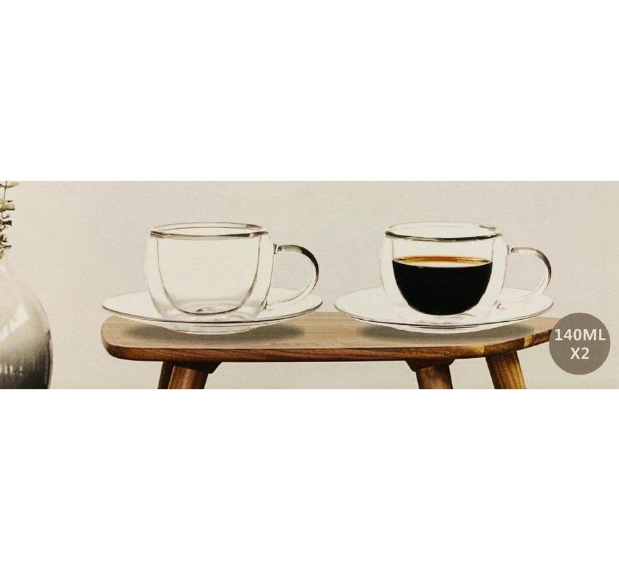 Dubbelwandige koffie/theeglazen set