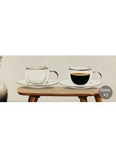 Bricard Glassware Çift camlı Türk kahvesi fincan seti