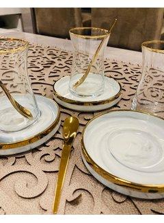 Bricard Porcelain 12 delige theeglazen set SENS marmer/grijs