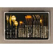 Ferveo Bestekset goud/zwart marmer 24 delig ''ARAS''