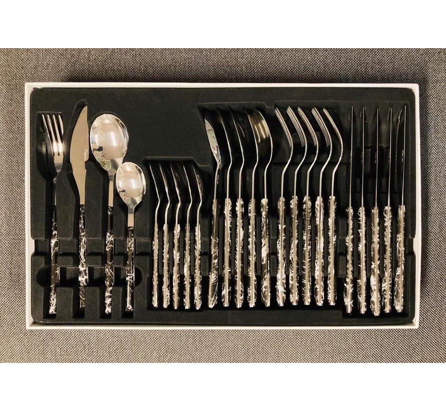 Bestekset silver/zwart-mermer 24 delig ''ARAS''