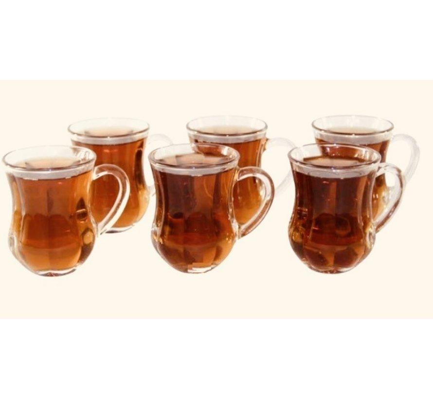 Dem kulplu 6 kişilik çay bardağı seti