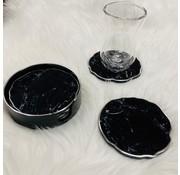 Fugurato Bardak altligi seti (6 adet) (siyah-silver/mermer)