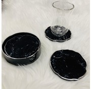 Fugurato Onderzetters in houder 6 stuks (zwart-zilver/marmer)