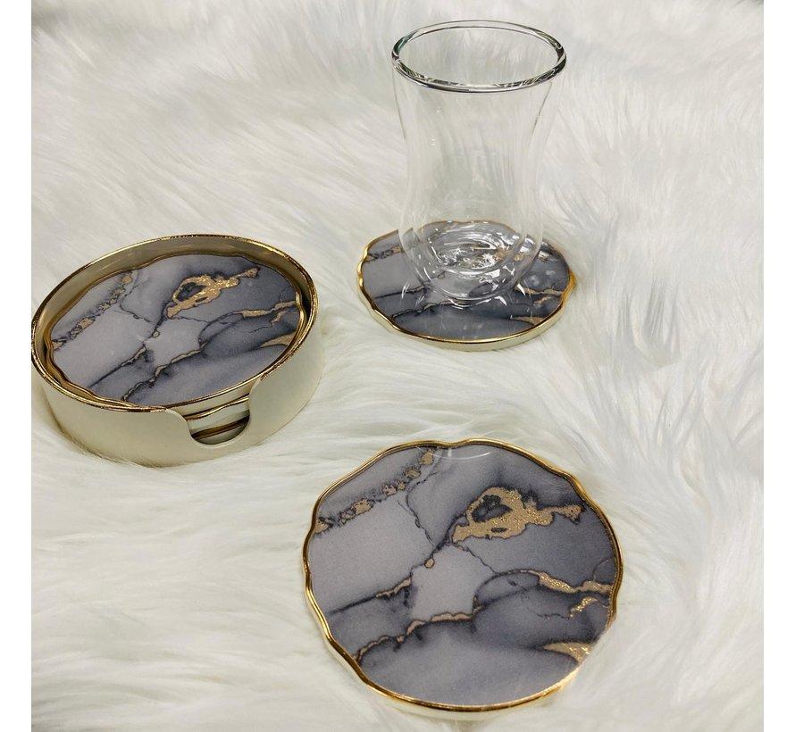 Onderzetters in houder 6 stuks (creme-gold/marmer)