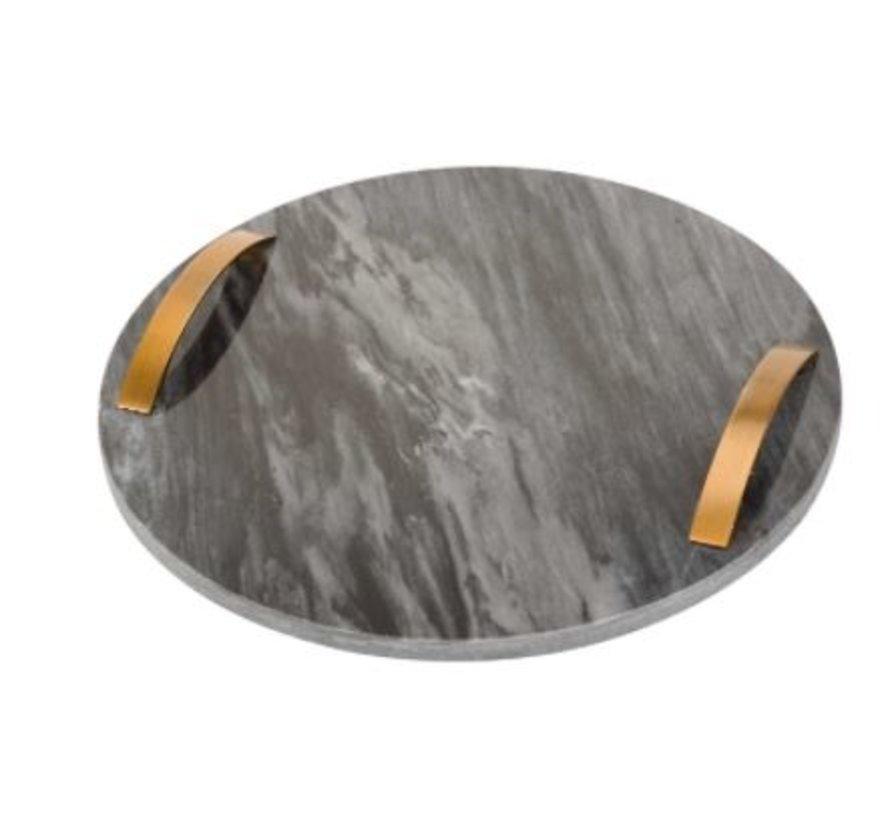 Marmeren dienblad met handvaten (rond)