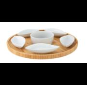 Cosy&Trendy Bamboe serveerplank met 6 keramieken schaaltjes