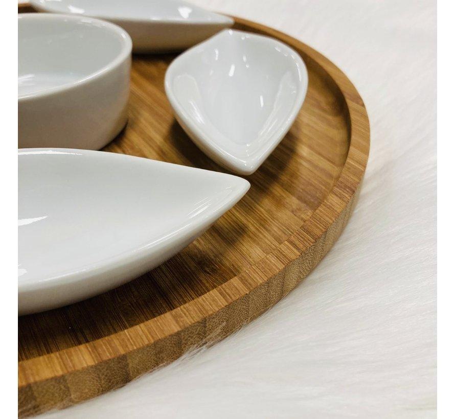 Bamboe serveerplank met 6 keramieken schaaltjes