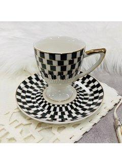 Hayal 6 kisilik Turk kahvesi fincan seti siyah/altin yaldizli