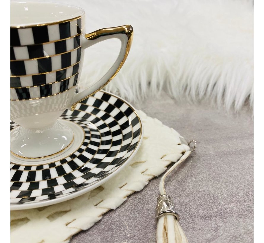 6 kisilik Turk kahvesi fincan seti siyah/altin yaldizli