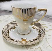 Hayal 6 kisilik Turk kahvesi fincan seti krem/altin yaldizli