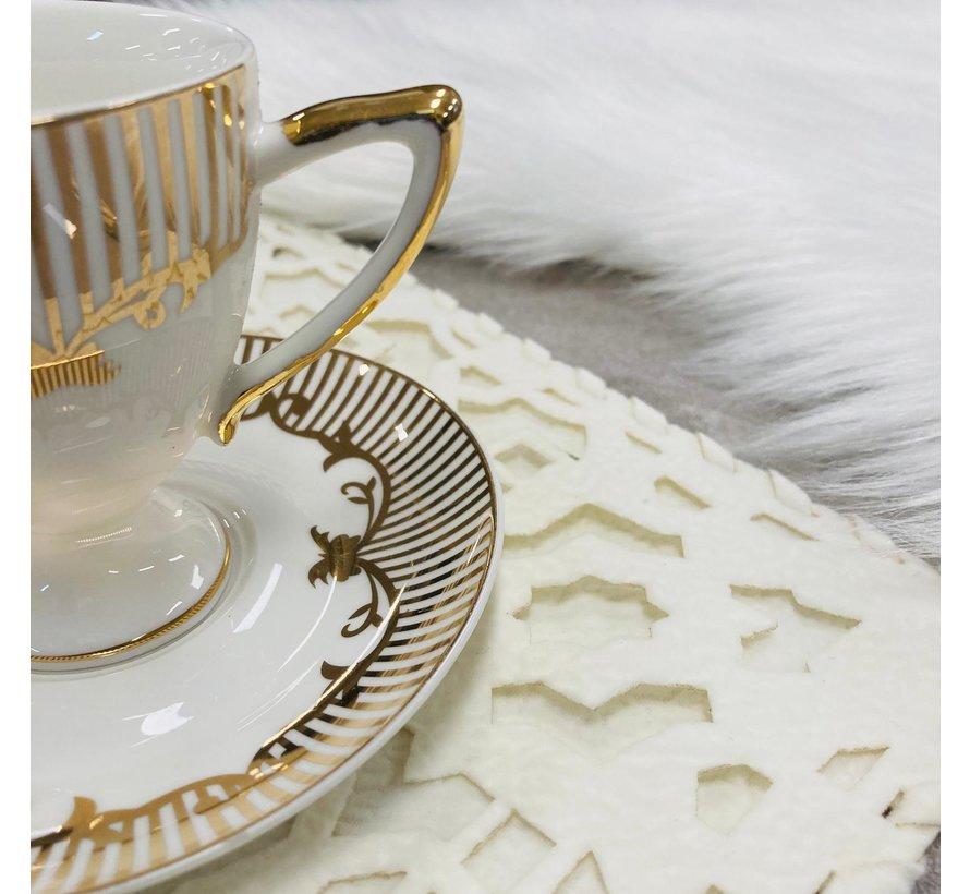 6 kisilik Turk kahvesi fincan seti krem/altin yaldizli