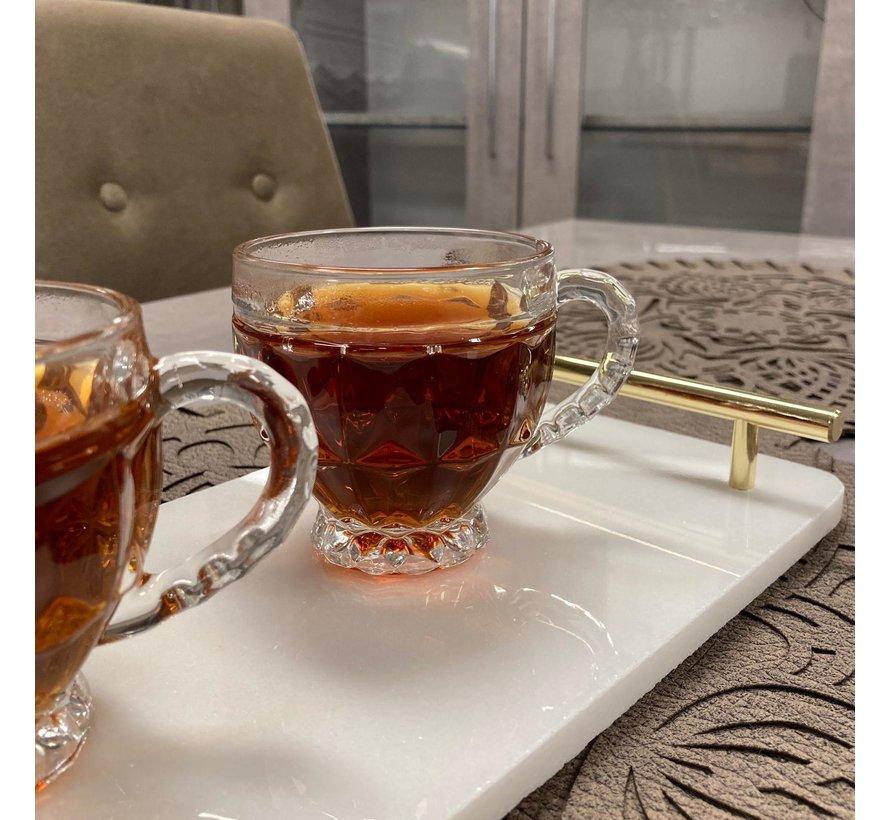 6 adet kulplu çay bardakları