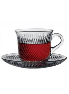 Paşabahçe Thee/koffieglazen met handvat Marmara 12 delig