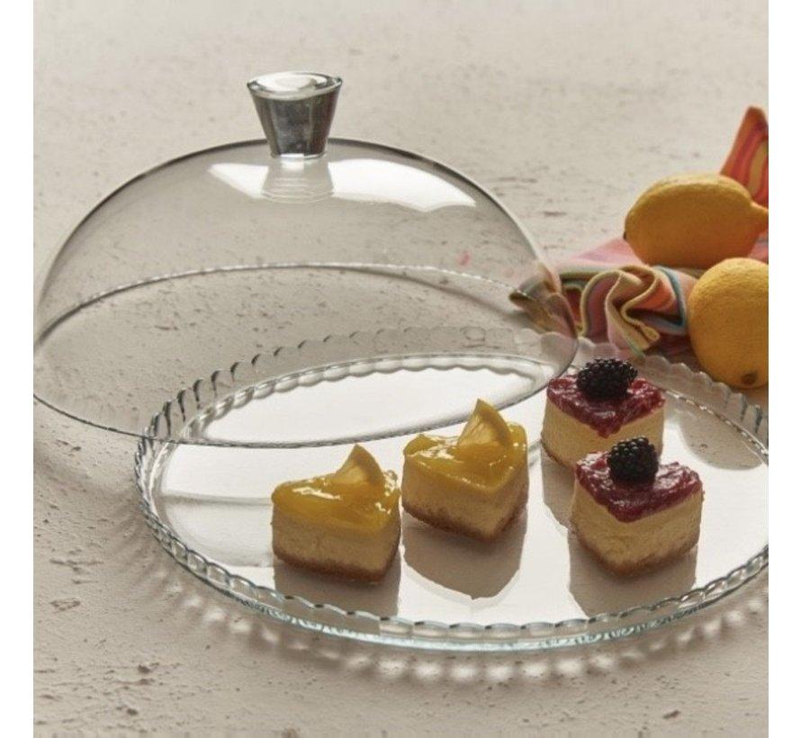Glazen serveerplateau met deksel ''Patisserie''