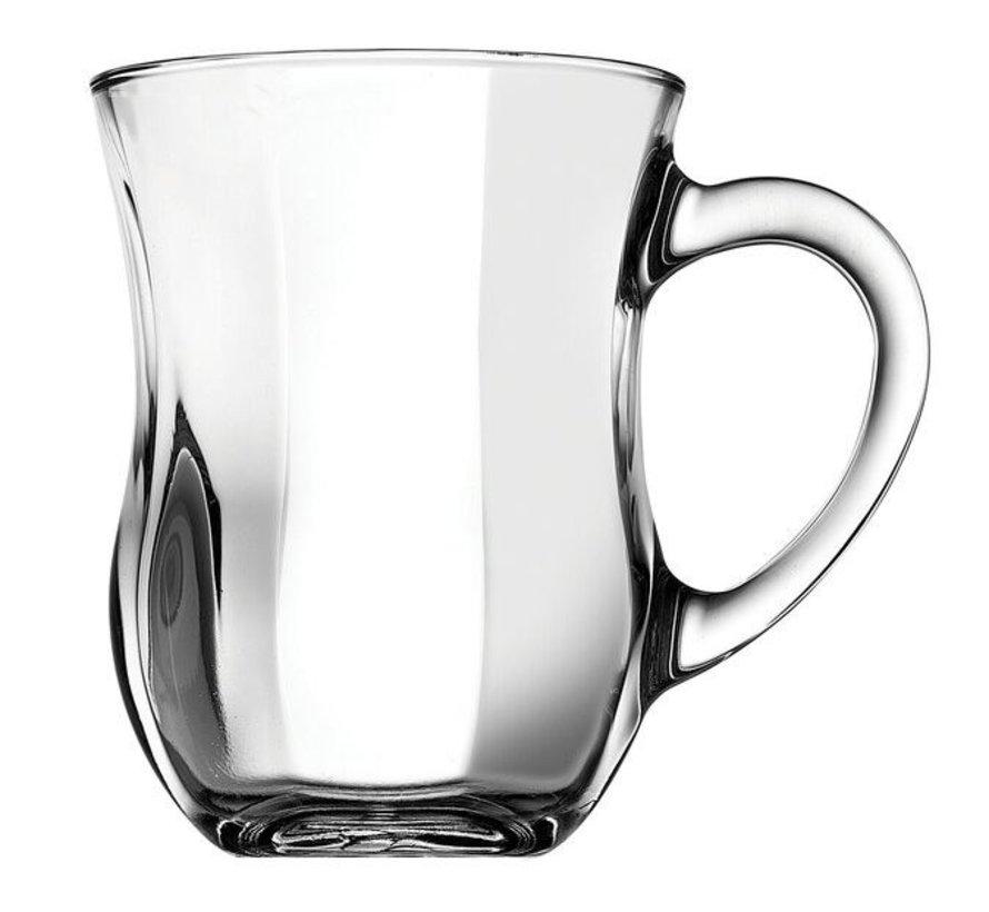 Glazen ayran beker met handvat